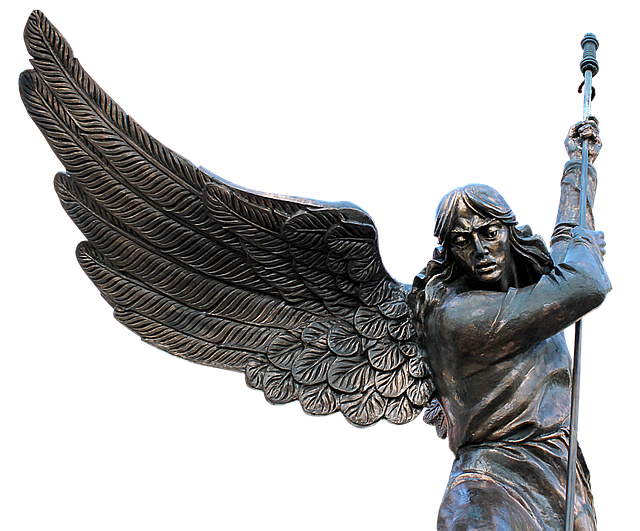 Angel, Wing, Spear, Bronze, Mystical, Female, Woman