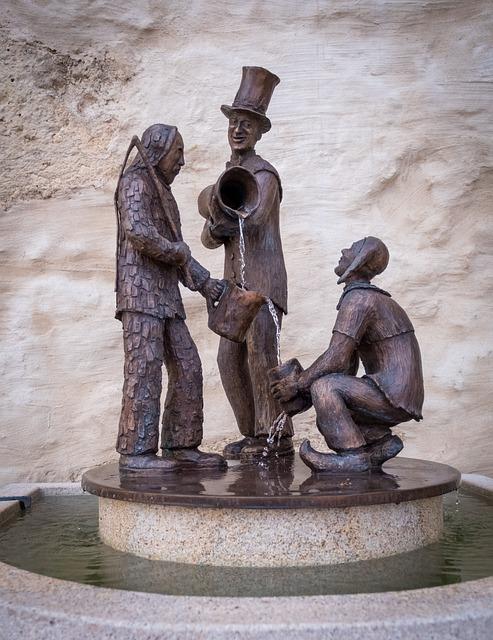 Figures, Sculpture, Bronze, Old, Antique, Fountain