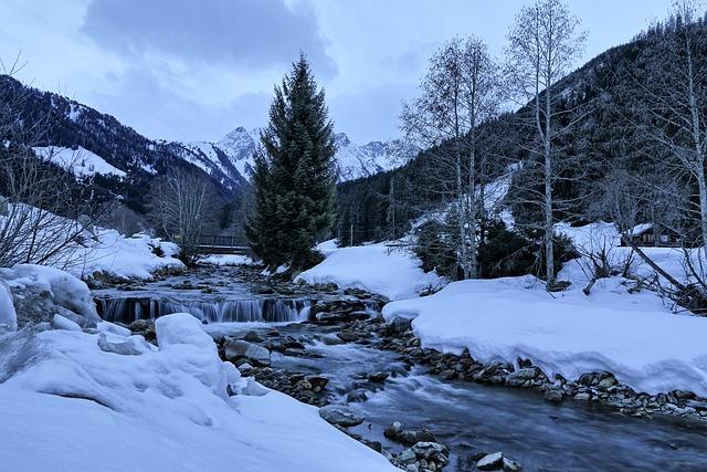 Winter, Brook, Mountains, Morning, Nature, Stream, Tree
