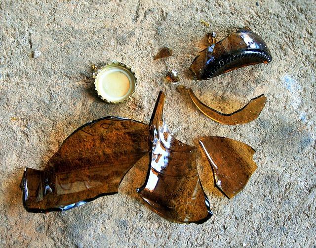 Bottle, Glass, Brown, Broken, Pieces, Sharp