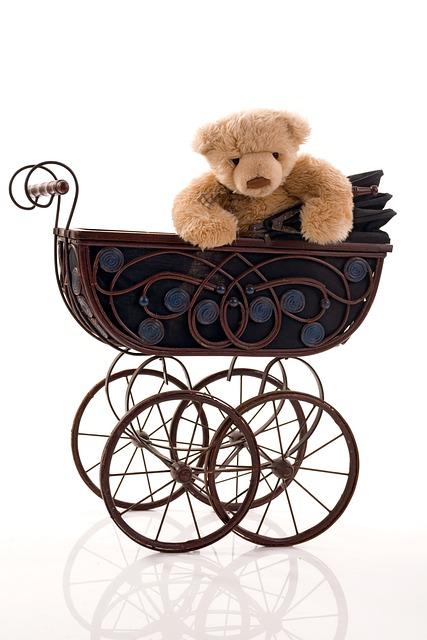 Stroller, Old, Toy, Teddy Bear, Plush, Brown, Beige