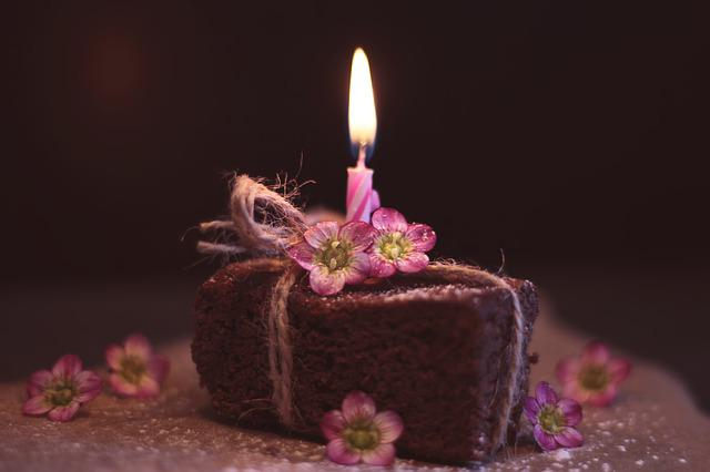 Brownie, Cake, Pastries, Birthday Candle, Flowers