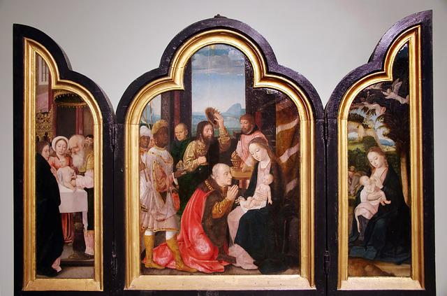 Bruges, St Jean, Triptych, Nativity, Magi, Art, Flemish