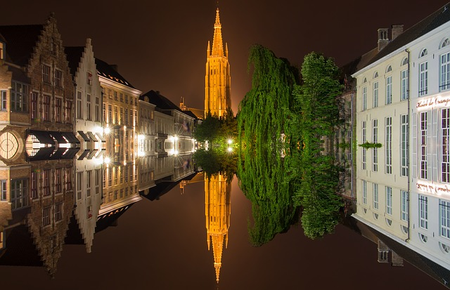 Bruges, Belgium, Mirroring, Historic Center, Water