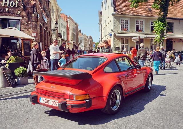 Porsche, Brugge, Street, Car, Bruges, Travel, City