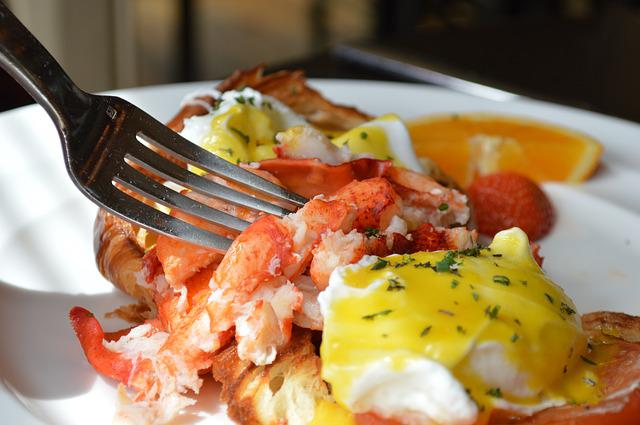 Lobster, Brunch, Benedict, Fork, Food, Dining, Festive
