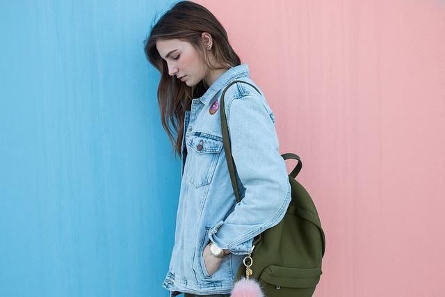 Woman, Brunette, Denim Jacket, Fashion, Backpack, Style
