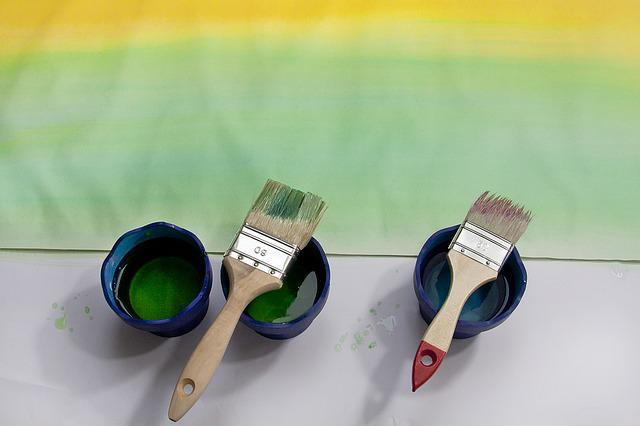 Paint, Course, Yellow, Green, Watercolor, Brush