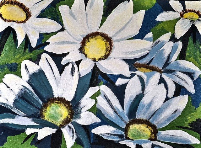 Painted Daisies, Acrylic Paint, Brush Strokes, Canvas