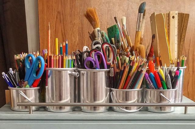 Art Supplies, Brushes, Rulers, Scissors, Paintbrush