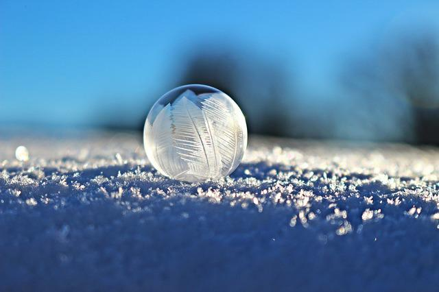 Soap Bubble, Bubble, Eiskristalle, Snow, Winter, Frozen