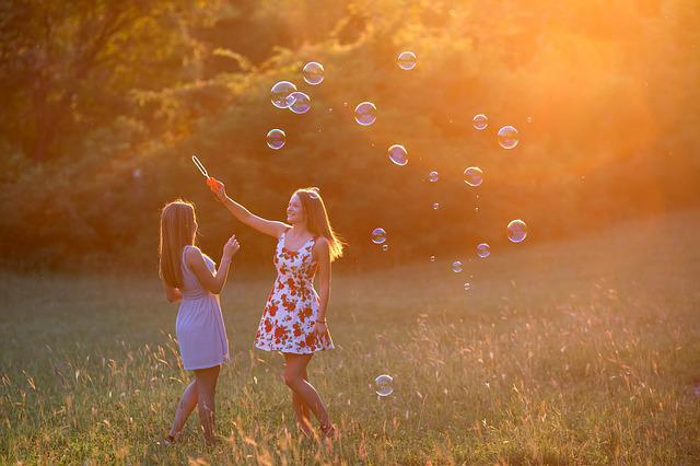 Girls, Girl, Sunset, Game, Bubbles, Young Woman