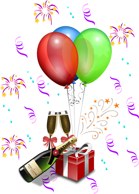 Anniversary, Balloons, Bottle, Bucket, Celebration