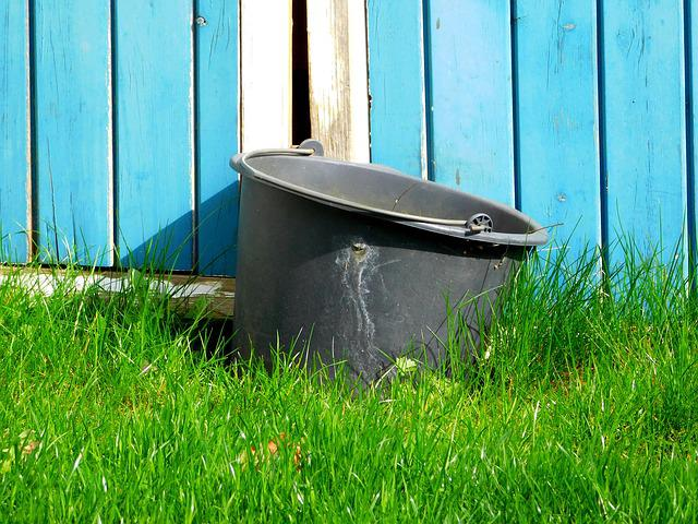 Bucket, Old, Used, Old Bucket, Worn