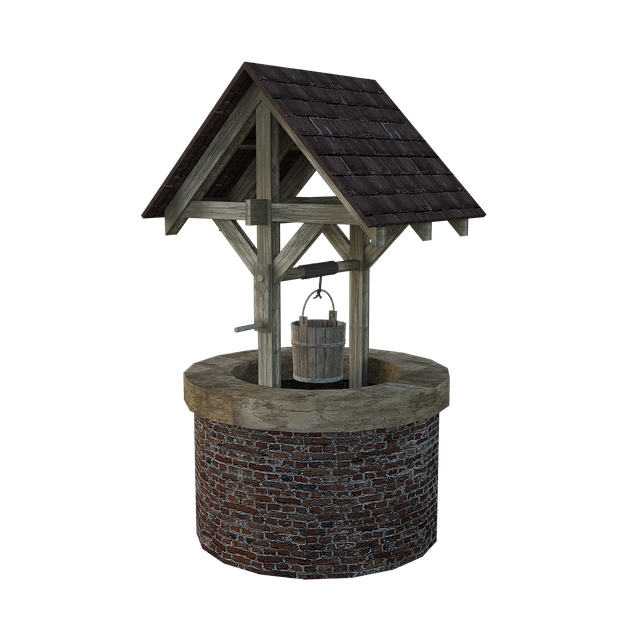 Wishing, Well, Bucket, Garden, Water, Fountain, Wooden