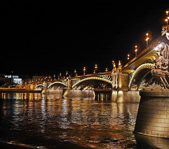Budapest At Night, Margaret Bridge, Illuminated