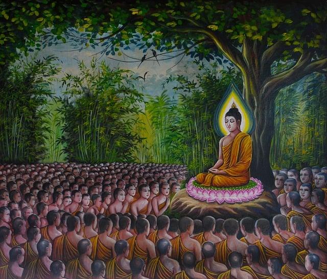 Buddha, Followers, Crowd, Meditating, Buddhism, Asia