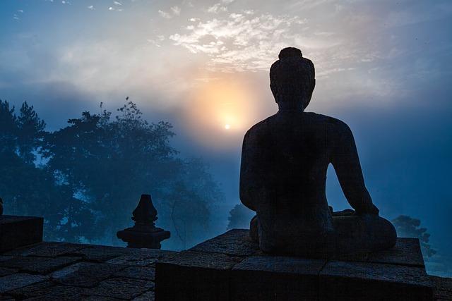Landscape, Morning Fog, Sunrise, Buddha Image