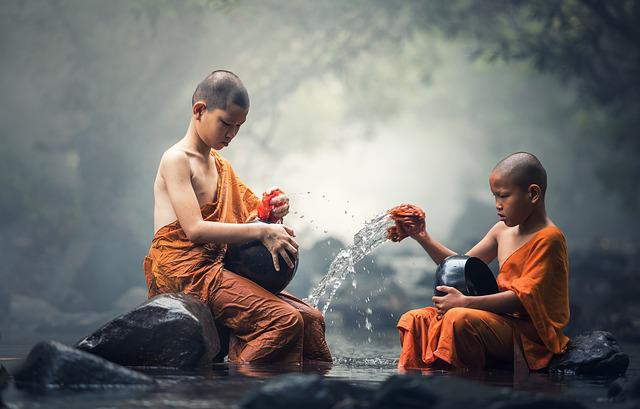 Boys, Monks, River, Ritual, Water, Buddhist, Buddhism
