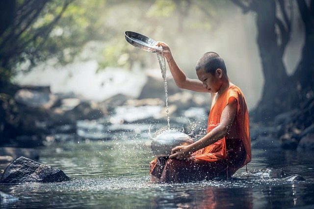 Boy, Monk, River, Buddhist, Water, Ritual, Buddhism