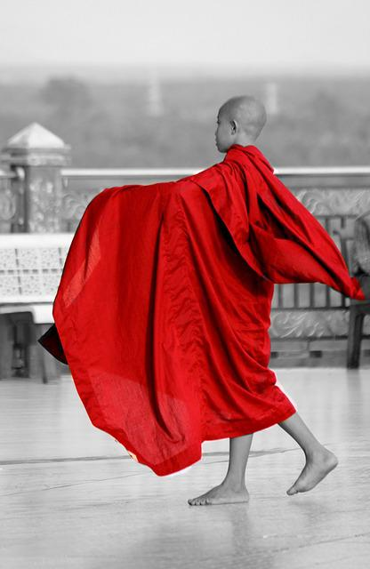 Monk, Burma, Myanmar, Buddhist, Human, Red