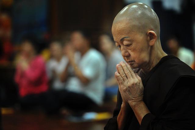 Theravada Buddhism, Buddhist, Nun, Old Nun, Temple