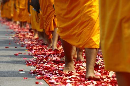 Walk, Buddhists, Monks, Tradition, Ceremony, Thailand