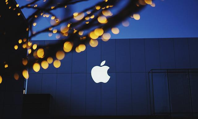 Apple, Bokeh, Building, Lights, Logo