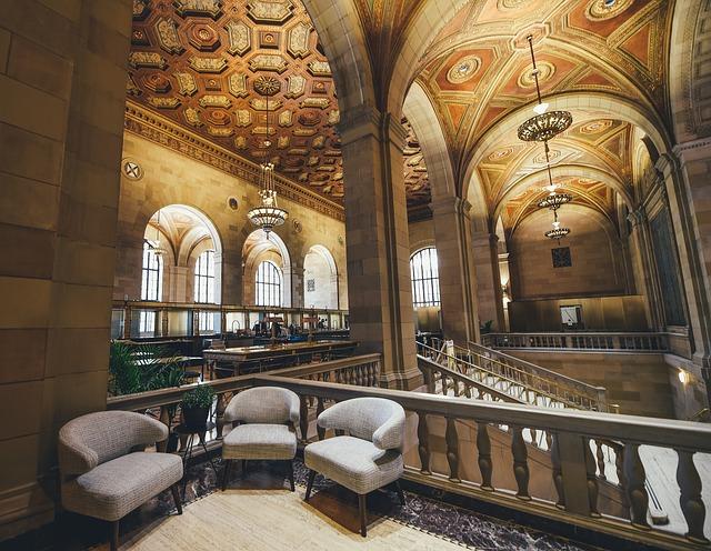 Architecture, Bank, Building, Chandeliers, Indoors