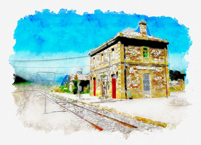 Watercolor, Architecture, Building, Train, Tracks, Sky