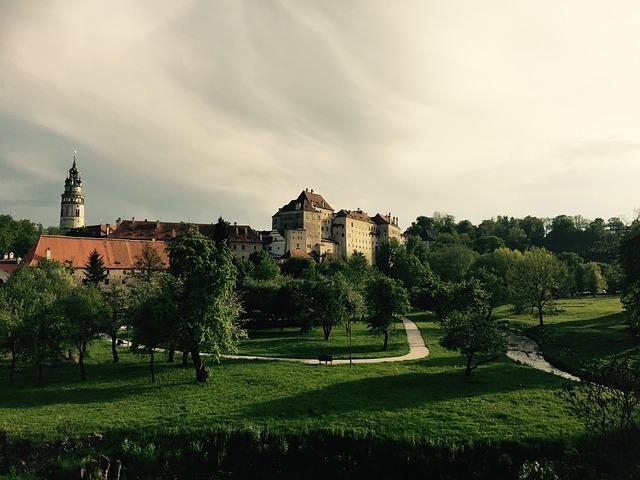 Czech Krumlov, Landscape, View, Castle, Building