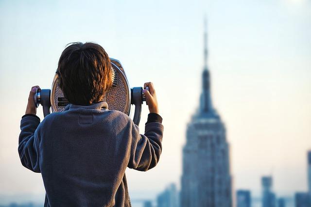 Boy, Building, Coin Operated Binoculars, Macro, Person