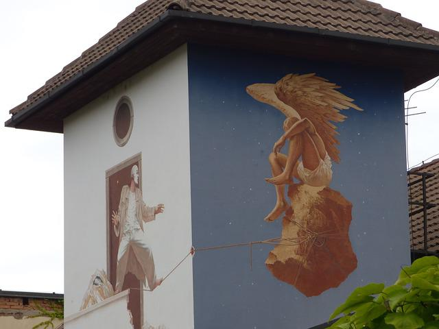Mural, Building, Painting, Ornament, Figure, Colors
