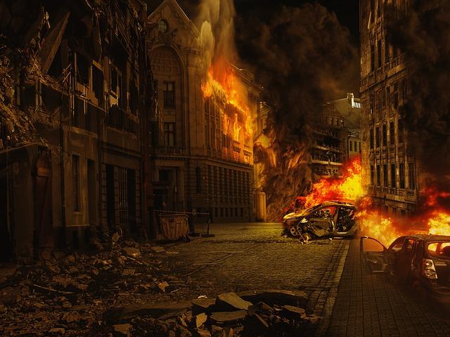 City, War, Destroyed, Destruction, Building, Fire