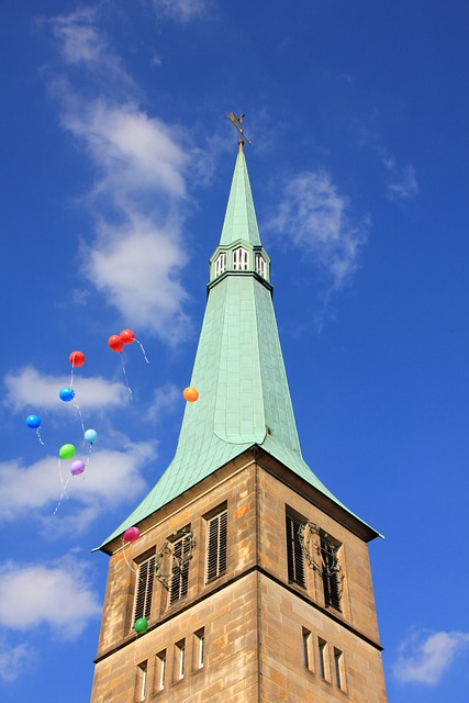 Building, Church, Steeple, Balloon, Sky, Embassy