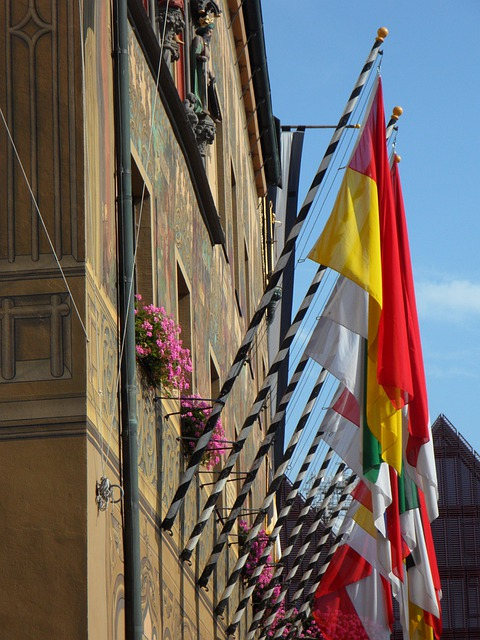 Flags, Decorated, Town Festival, Festive, Building