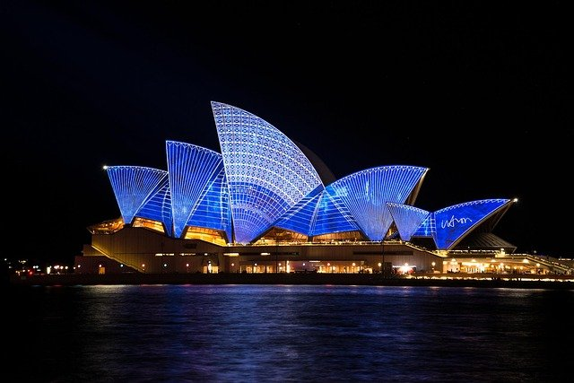 Sydney Opera House, Building, Architecture, Illuminated