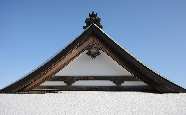 Roof, Building, Temple, Snow, Japanese, Zen