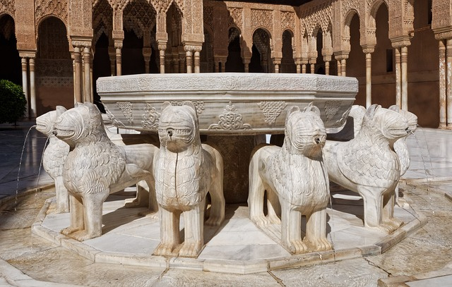 Lion Fountain, Alhambra, Building, Antique, Granada
