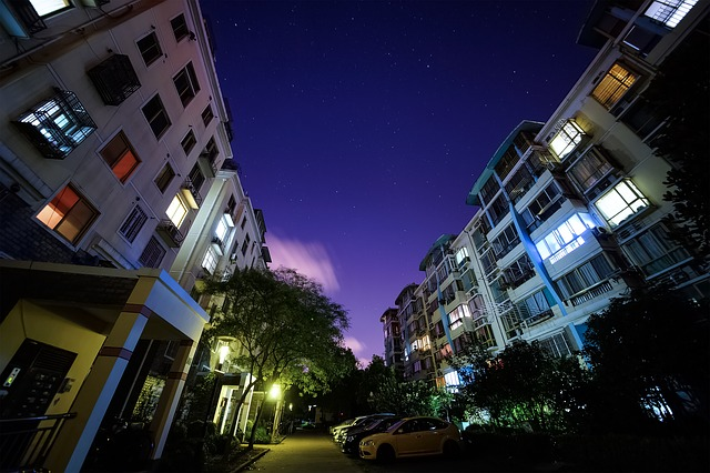 Starry Sky, Night, Building