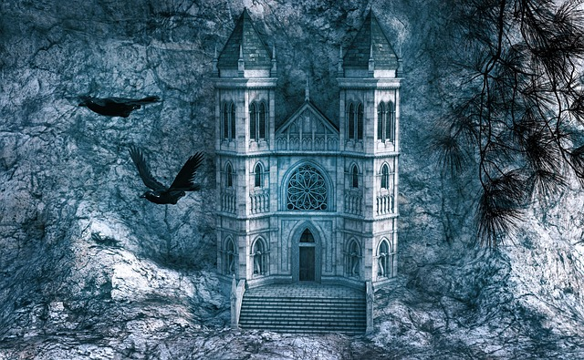 Church, Stone, Rock, Building, Mythical, Raven