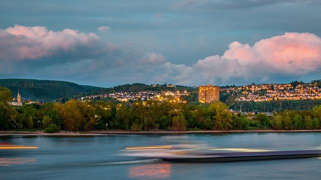 Rhine, Abendstimmung, Clouds, Building, Afterglow