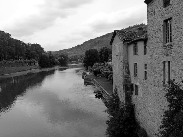 River, Water, Building, Black And White, Horizon