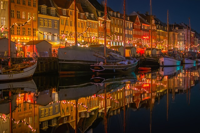 Nyhavn, Denmark, City, Urban, Buildings, Shops, Stores