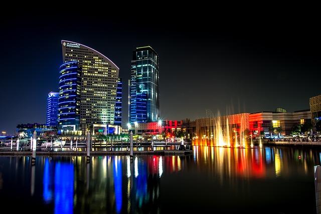Buildings, City, Dubai, Lake, Night, Reflection, Water