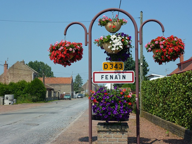 Nord, France, Flowers, Sign, Sky, Buildings, Town