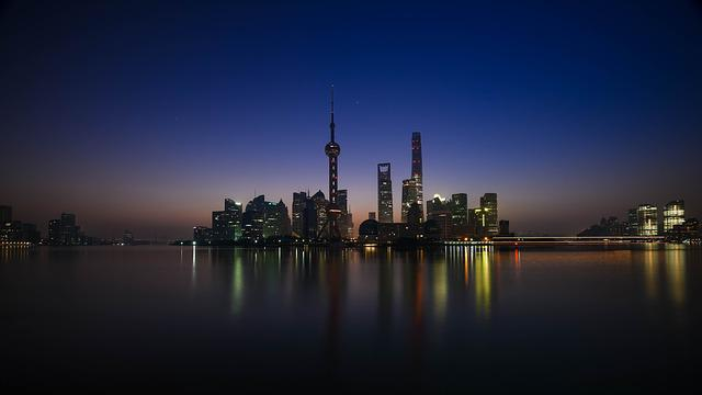 City, River, Illuminated, Buildings, Skyscrapers, Tower