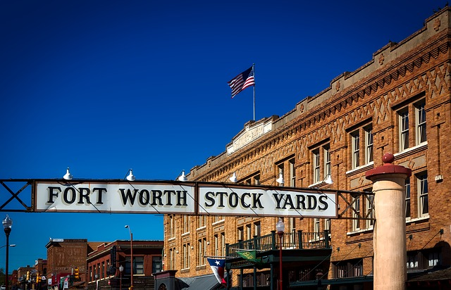 Fort Worth, Texas, Stock Yards, Hdr, Flag, Buildings