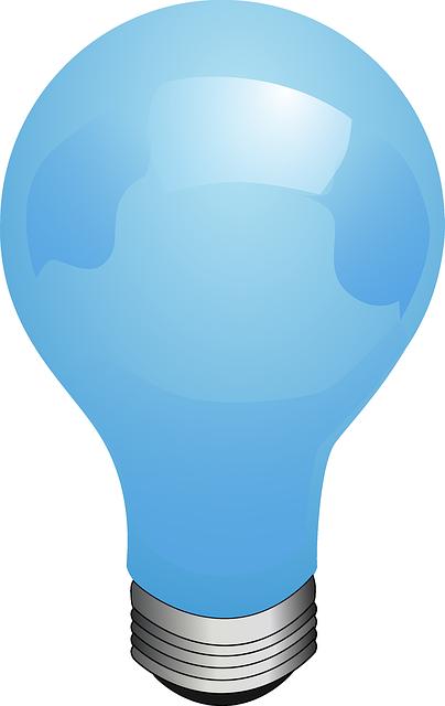 Bulb, Blue, Lamp, Electric, Light, Lighting