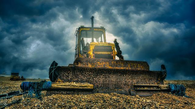 Digger, Heavy Machine, Bulldozer, Hdr